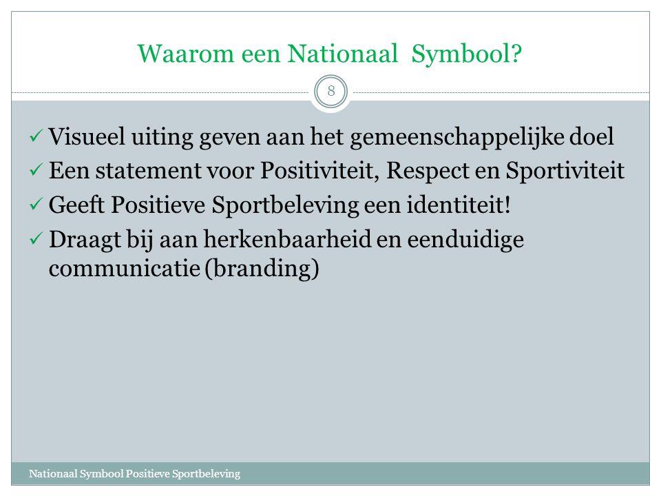 Waarom een Nationaal Symbool? Nationaal Symbool Positieve Sportbeleving 8  Visueel uiting geven aan het gemeenschappelijke doel  Een statement voor