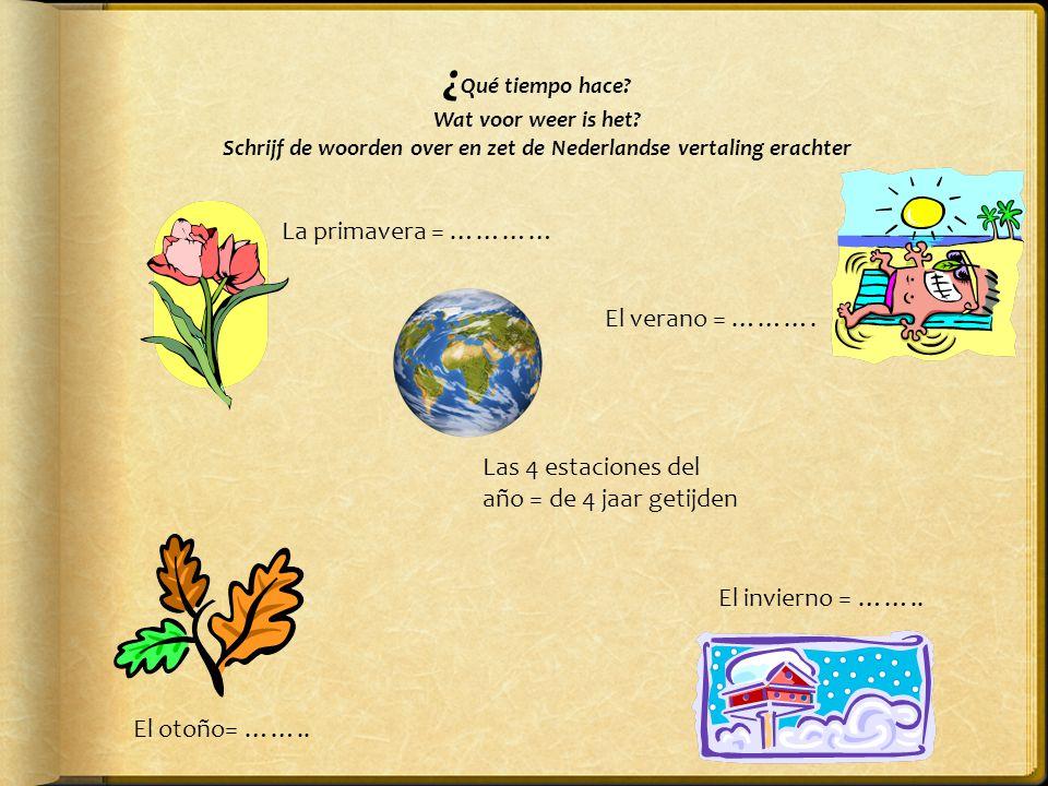 El tiempo: p. 38  El tiempo = het weer  Op pag.