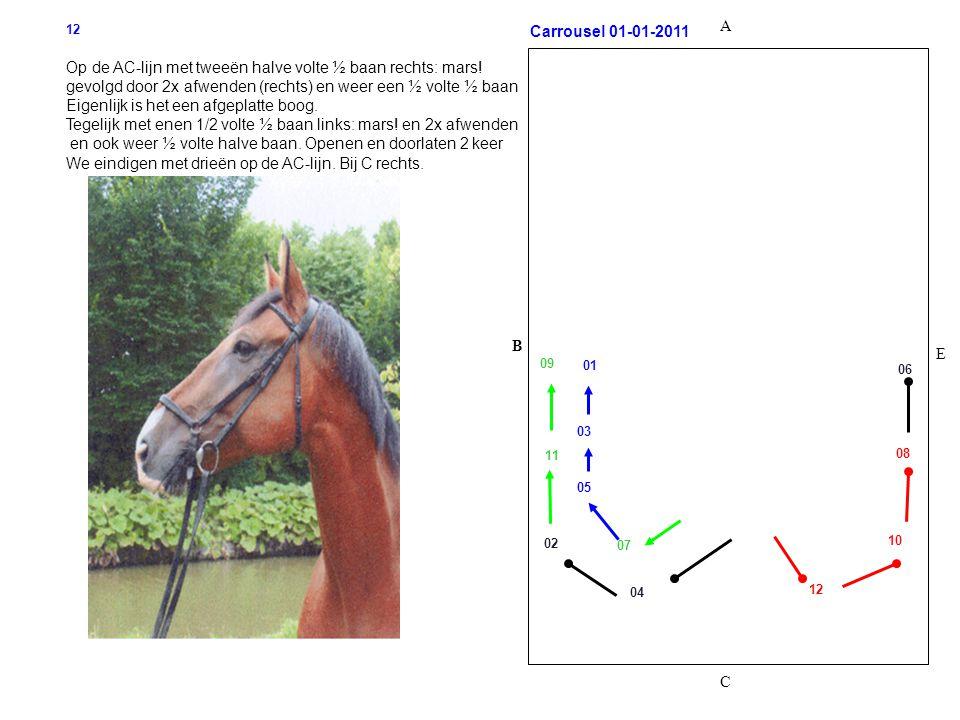 B C A E Carrousel 01-01-2011 12 Op de AC-lijn met tweeën halve volte ½ baan rechts: mars! gevolgd door 2x afwenden (rechts) en weer een ½ volte ½ baan