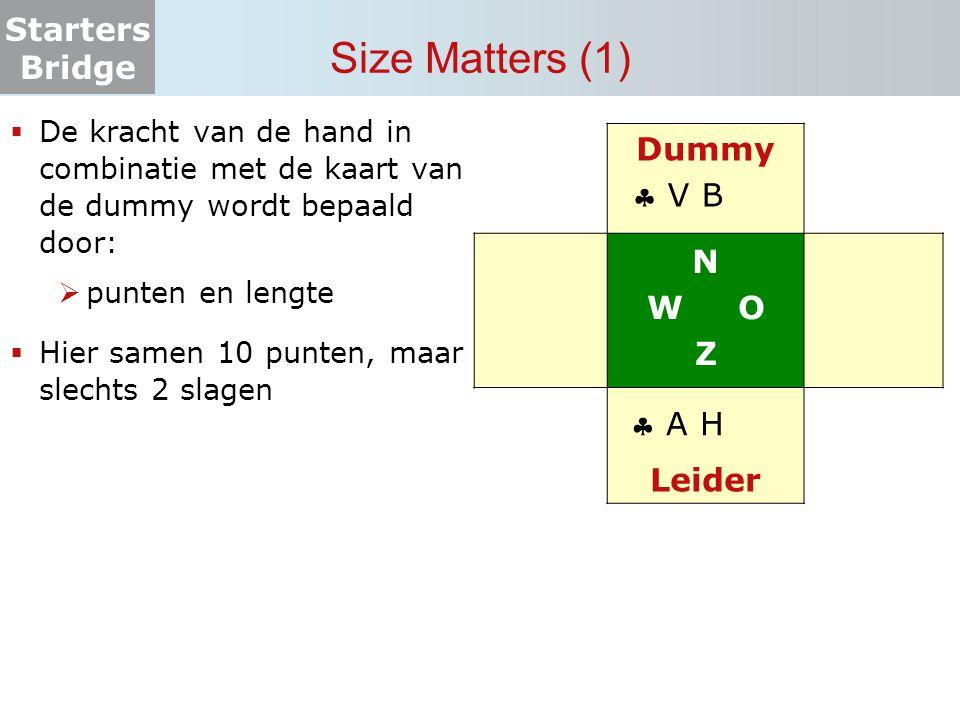 Starters Bridge Size Matters (1)  De kracht van de hand in combinatie met de kaart van de dummy wordt bepaald door:  punten en lengte  Hier samen 1