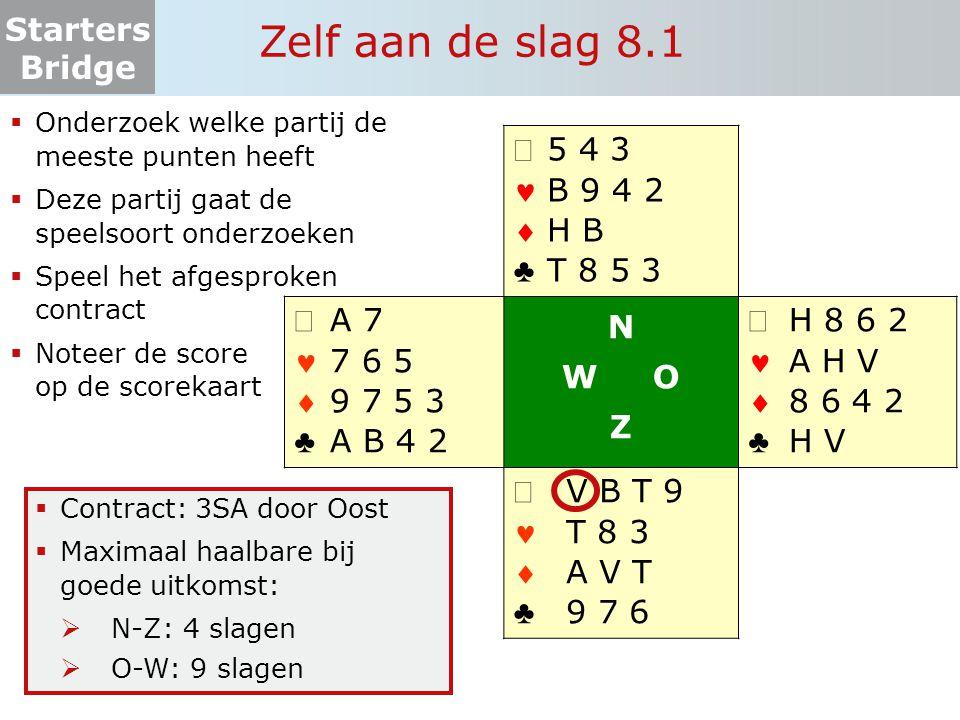 Starters Bridge Zelf aan de slag 8.1  Onderzoek welke partij de meeste punten heeft  Deze partij gaat de speelsoort onderzoeken  Speel het afgespro