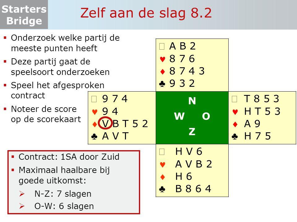 Starters Bridge Zelf aan de slag 8.2  Onderzoek welke partij de meeste punten heeft  Deze partij gaat de speelsoort onderzoeken  Speel het afgespro