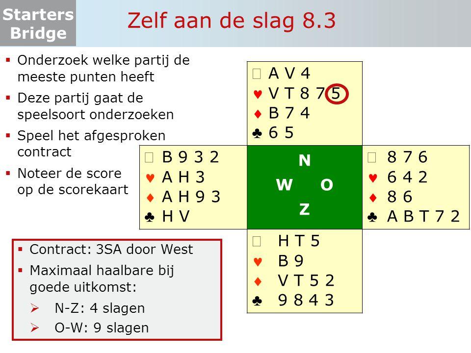 Starters Bridge Zelf aan de slag 8.3  Onderzoek welke partij de meeste punten heeft  Deze partij gaat de speelsoort onderzoeken  Speel het afgespro