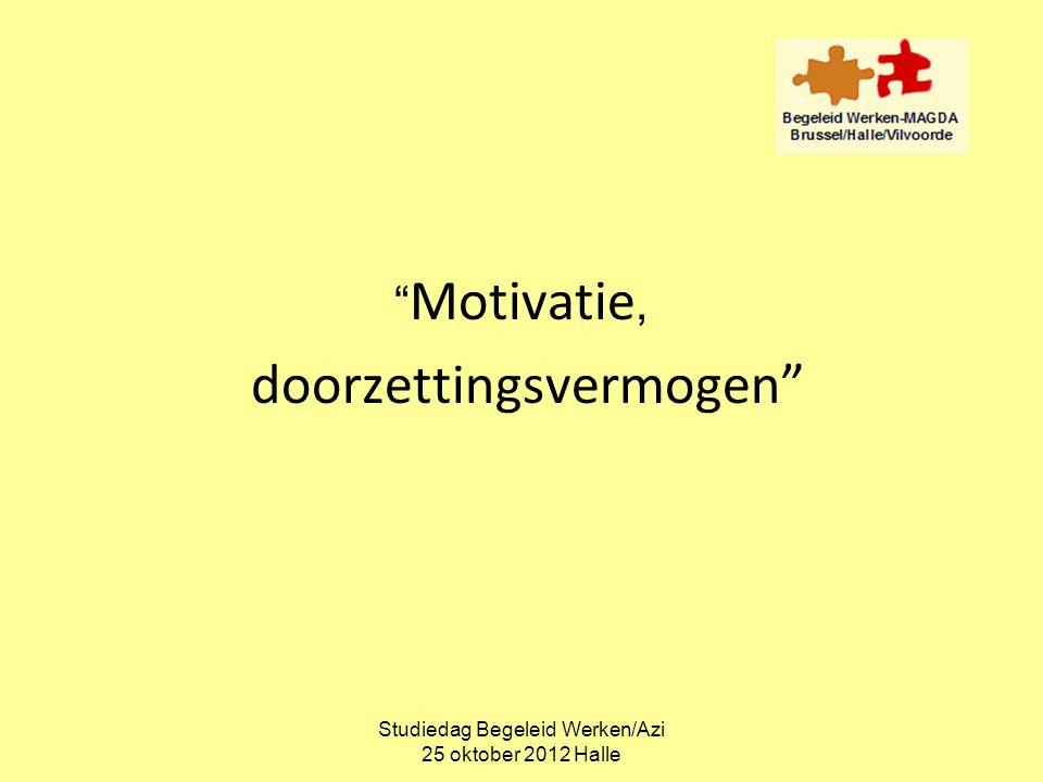 """Studiedag Begeleid Werken/Azi 25 oktober 2012 Halle """" Motivatie, doorzettingsvermogen"""""""