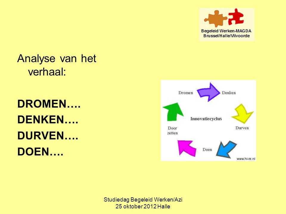Studiedag Begeleid Werken/Azi 25 oktober 2012 Halle Analyse van het verhaal: DROMEN…. DENKEN…. DURVEN…. DOEN….