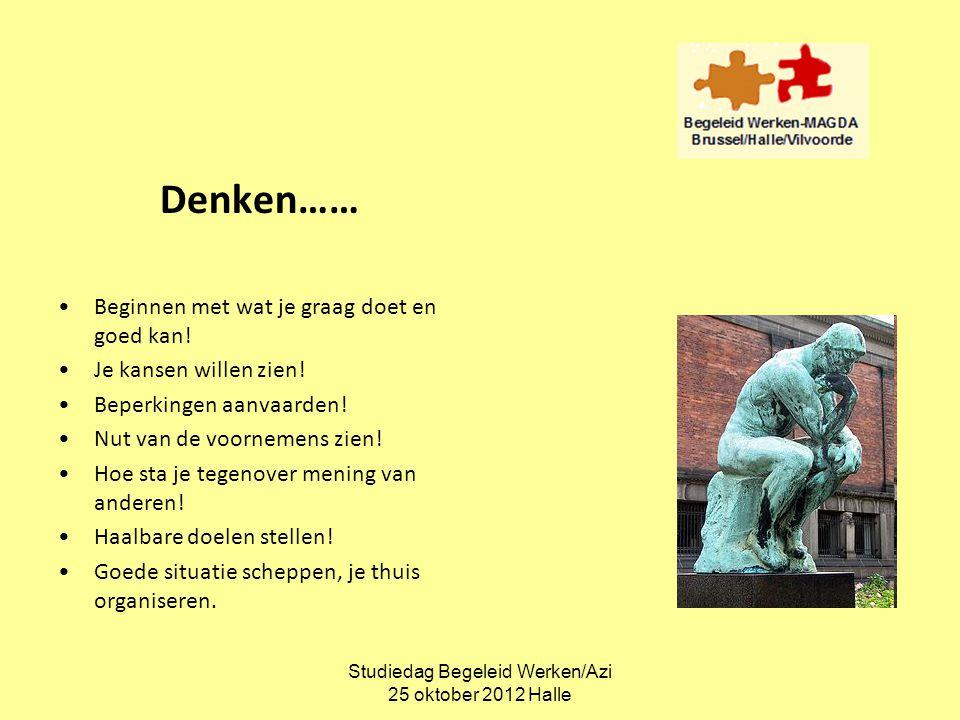 Studiedag Begeleid Werken/Azi 25 oktober 2012 Halle Denken…… •Beginnen met wat je graag doet en goed kan! •Je kansen willen zien! •Beperkingen aanvaar