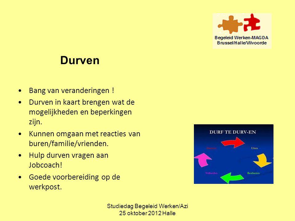 Studiedag Begeleid Werken/Azi 25 oktober 2012 Halle Durven •Bang van veranderingen ! •Durven in kaart brengen wat de mogelijkheden en beperkingen zijn