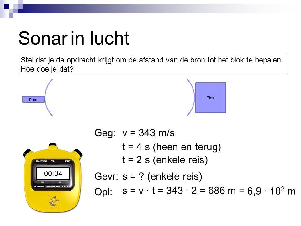 Sonar 00:0000:0100:0200:03 t = 4 s (heen en terug) v = 343 m/sGeg: Gevr: Opl: t = 2 s (enkele reis) s = .