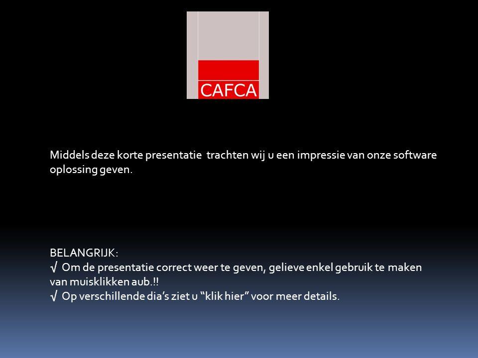 Success is the sum of details. Screenshot CAFCA module projecten:
