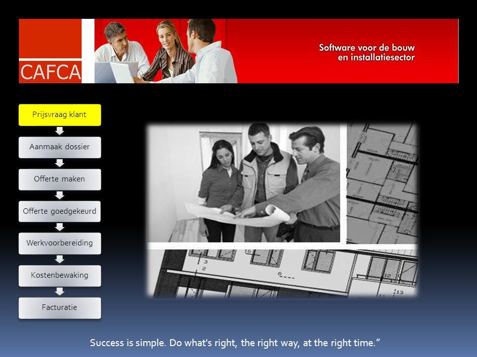 Success is the sum of details. Screenshot CAFCA module service & onderhoud: