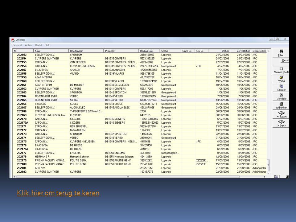Success is the sum of details. Screenshot CAFCA module voorraad: