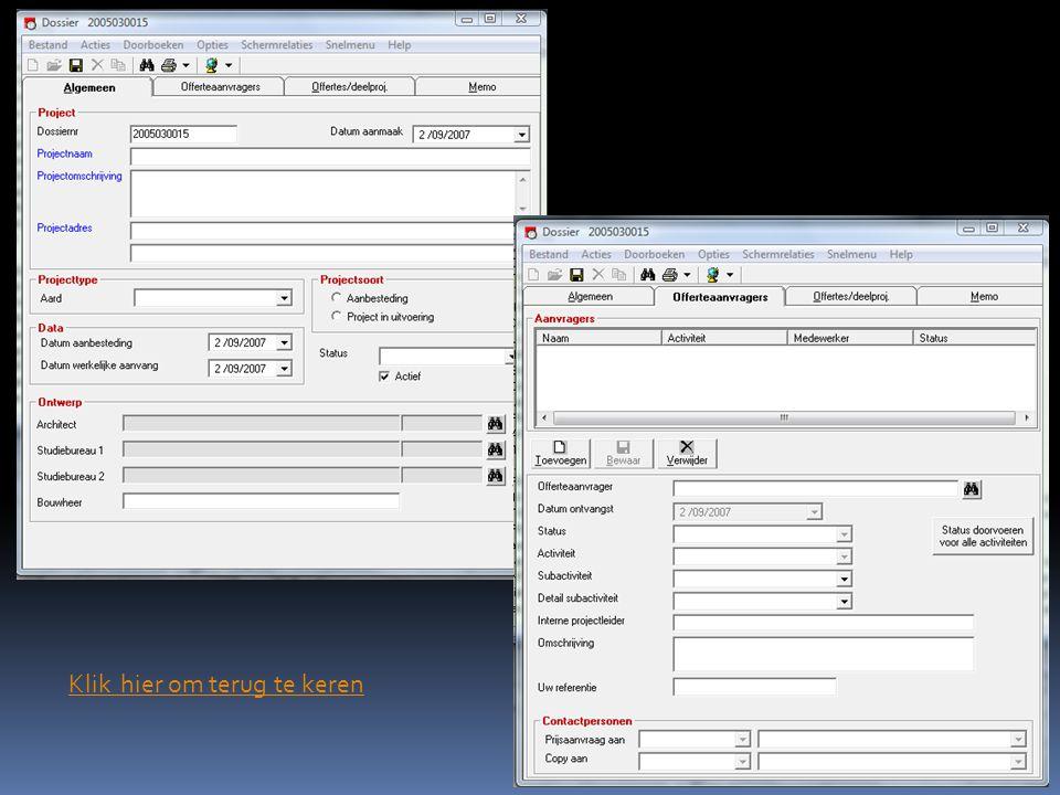 Success is the sum of details. Screenshot CAFCA module vorderingstaten: