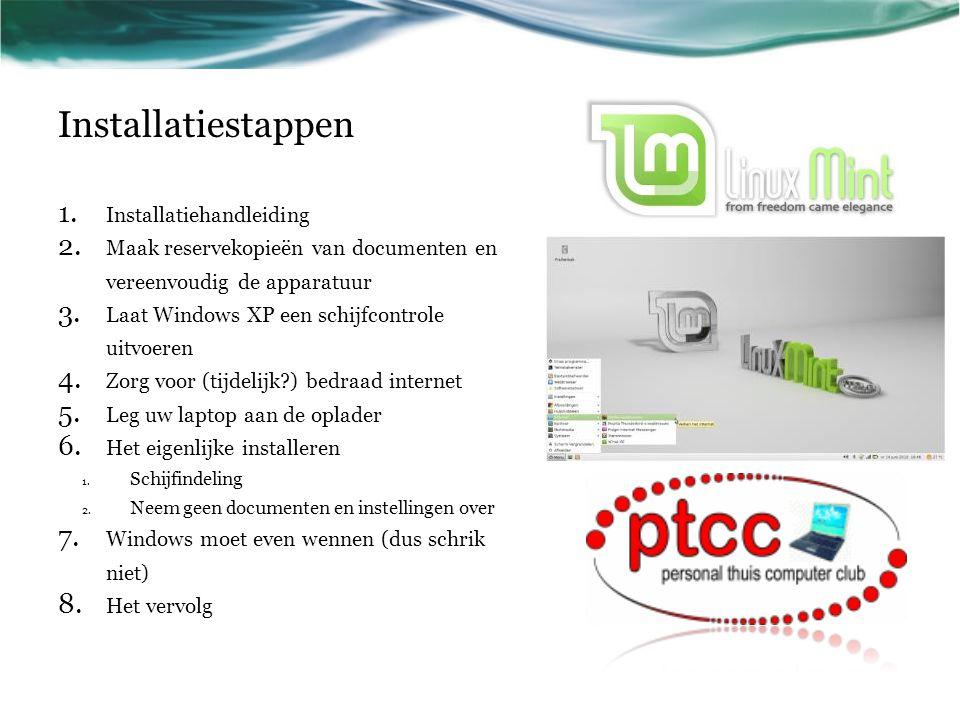 Installatiestappen 1. Installatiehandleiding 2. Maak reservekopieën van documenten en vereenvoudig de apparatuur 3. Laat Windows XP een schijfcontrole