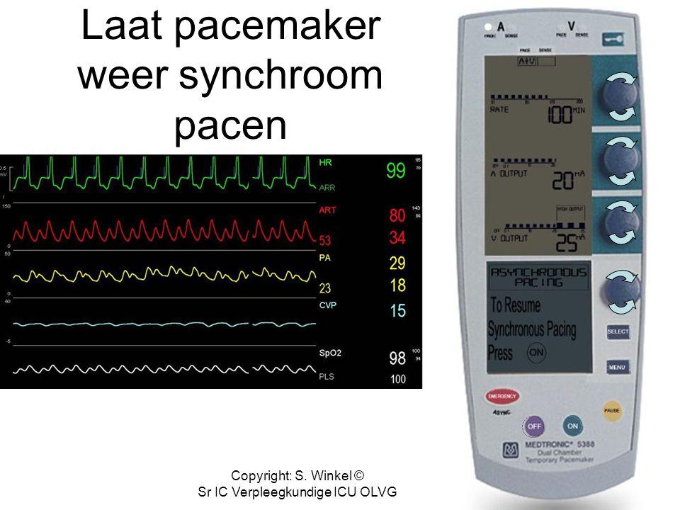 Copyright: S. Winkel © Sr IC Verpleegkundige ICU OLVG Welke actie verricht je bij onderstaande situatie?