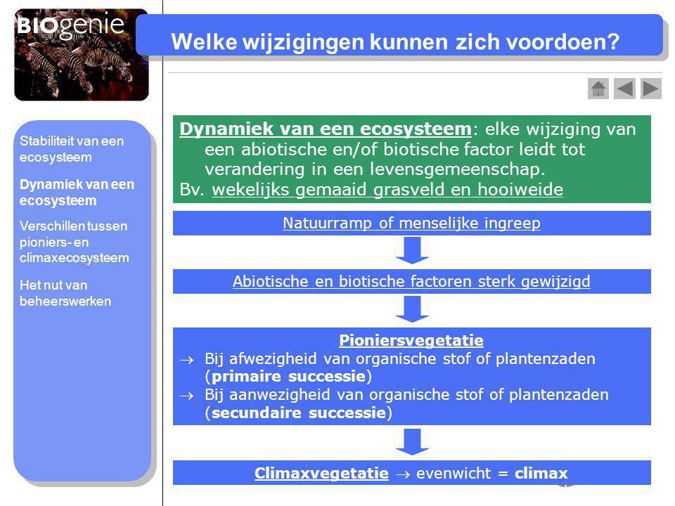 Verschillen pioniers- en climaxecosysteem Pioniers- ecosysteem Climax- ecosysteem Biomassaneemt toeblijft gelijk Vegetatieéén niveaumeerdere niveaus Biodiversiteitlaaghoog Voedselwebeenvoudigcomplex Verandering abiotische factoren sterk wisselendweinig Stabiliteit van een ecosysteem Dynamiek van een ecosysteem Het nut van beheerswerken Verschillen tussen pioniers- en climaxecosysteem
