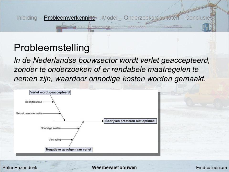 EindcolloquiumWeerbewust bouwen Probleemstelling In de Nederlandse bouwsector wordt verlet geaccepteerd, zonder te onderzoeken of er rendabele maatreg