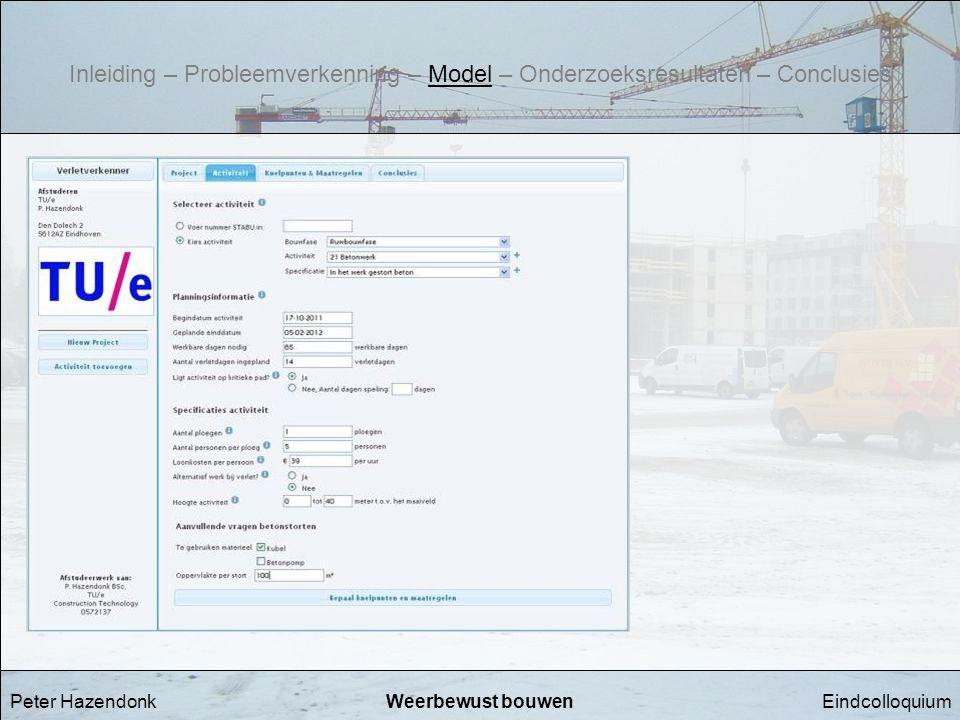 EindcolloquiumWeerbewust bouwenPeter Hazendonk Inleiding – Probleemverkenning – Model – Onderzoeksresultaten – Conclusies