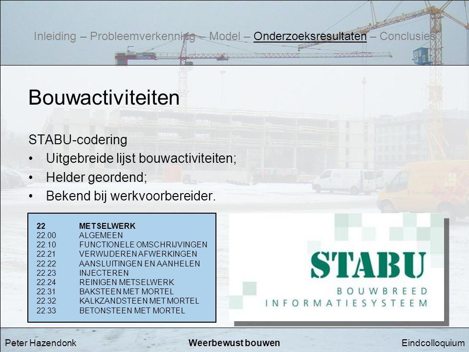 EindcolloquiumWeerbewust bouwen Bouwactiviteiten STABU-codering •Uitgebreide lijst bouwactiviteiten; •Helder geordend; •Bekend bij werkvoorbereider. 2