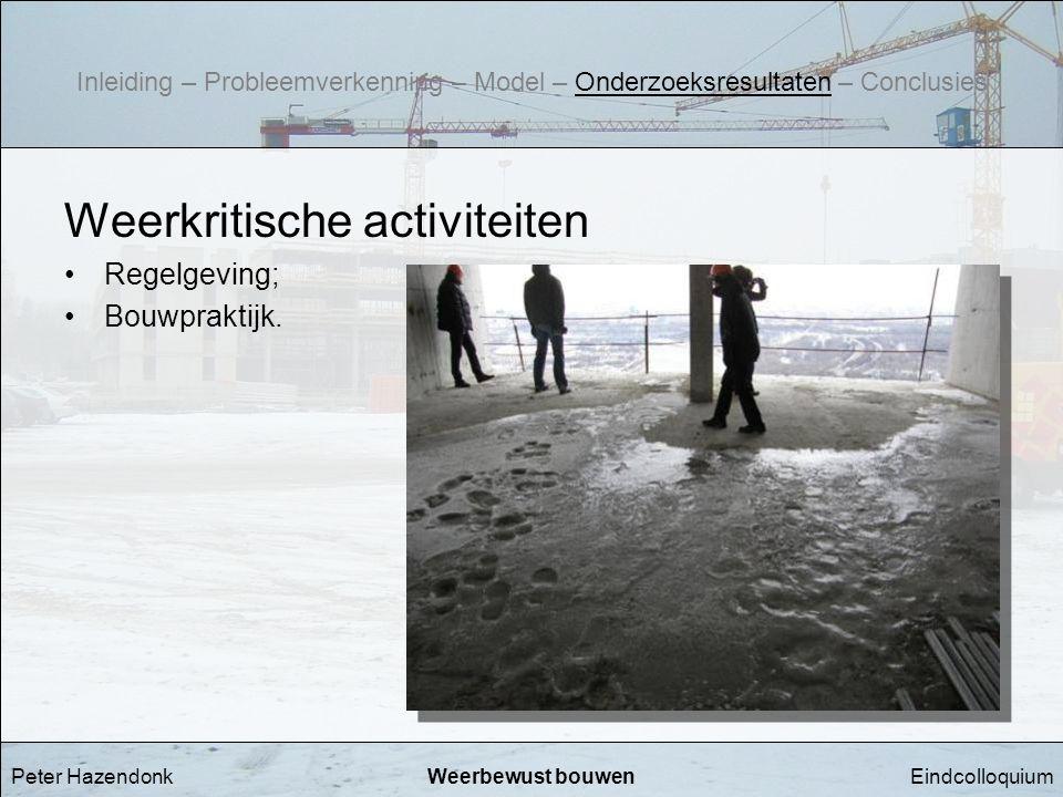 EindcolloquiumWeerbewust bouwen Weerkritische activiteiten •Regelgeving; •Bouwpraktijk. Peter Hazendonk Inleiding – Probleemverkenning – Model – Onder