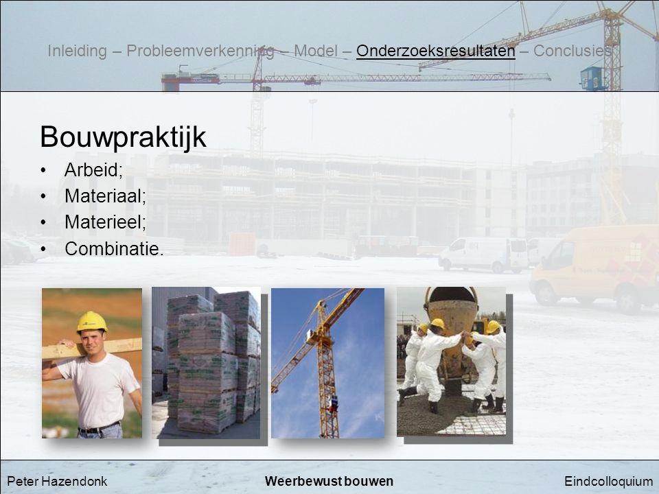 EindcolloquiumWeerbewust bouwen Bouwpraktijk •Arbeid; •Materiaal; •Materieel; •Combinatie. Peter Hazendonk Inleiding – Probleemverkenning – Model – On