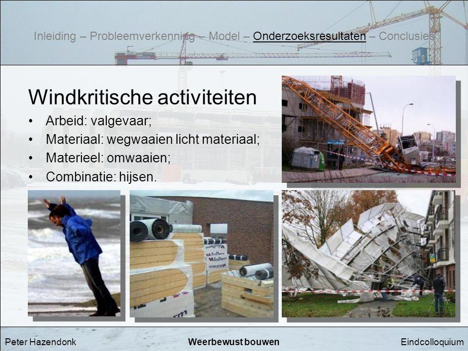 EindcolloquiumWeerbewust bouwen Windkritische activiteiten •Arbeid: valgevaar; •Materiaal: wegwaaien licht materiaal; •Materieel: omwaaien; •Combinati