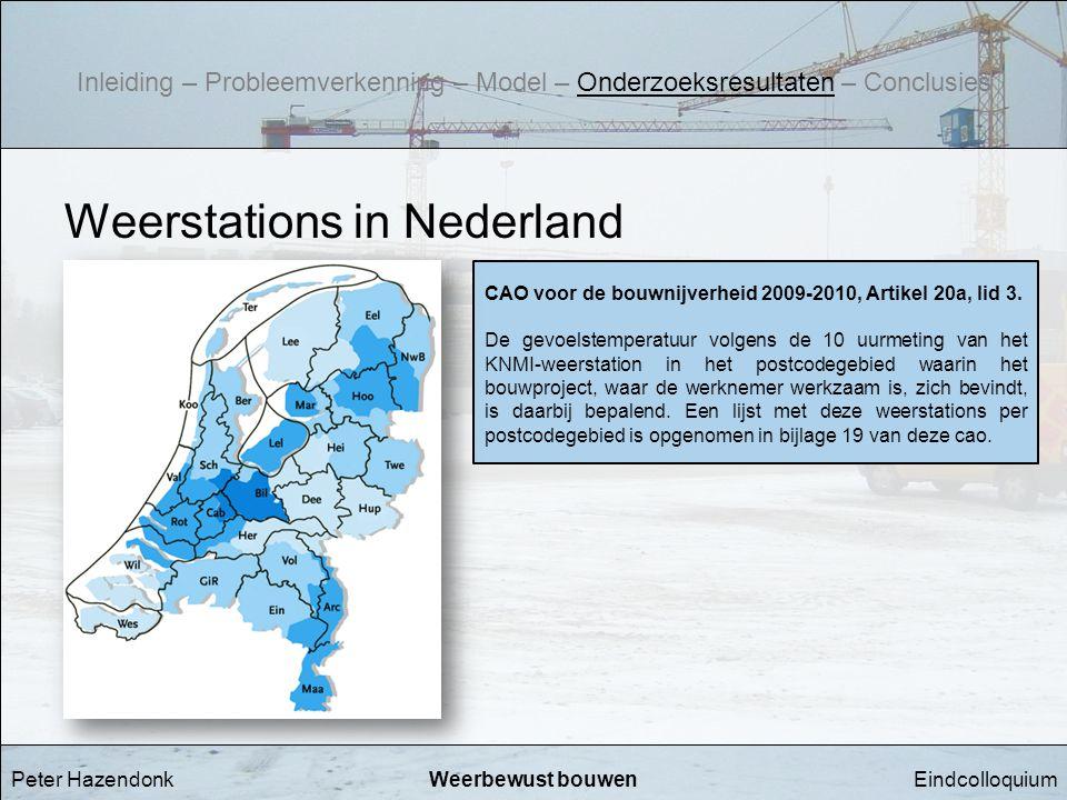 EindcolloquiumWeerbewust bouwen Weerstations in Nederland CAO voor de bouwnijverheid 2009-2010, Artikel 20a, lid 3. De gevoelstemperatuur volgens de 1