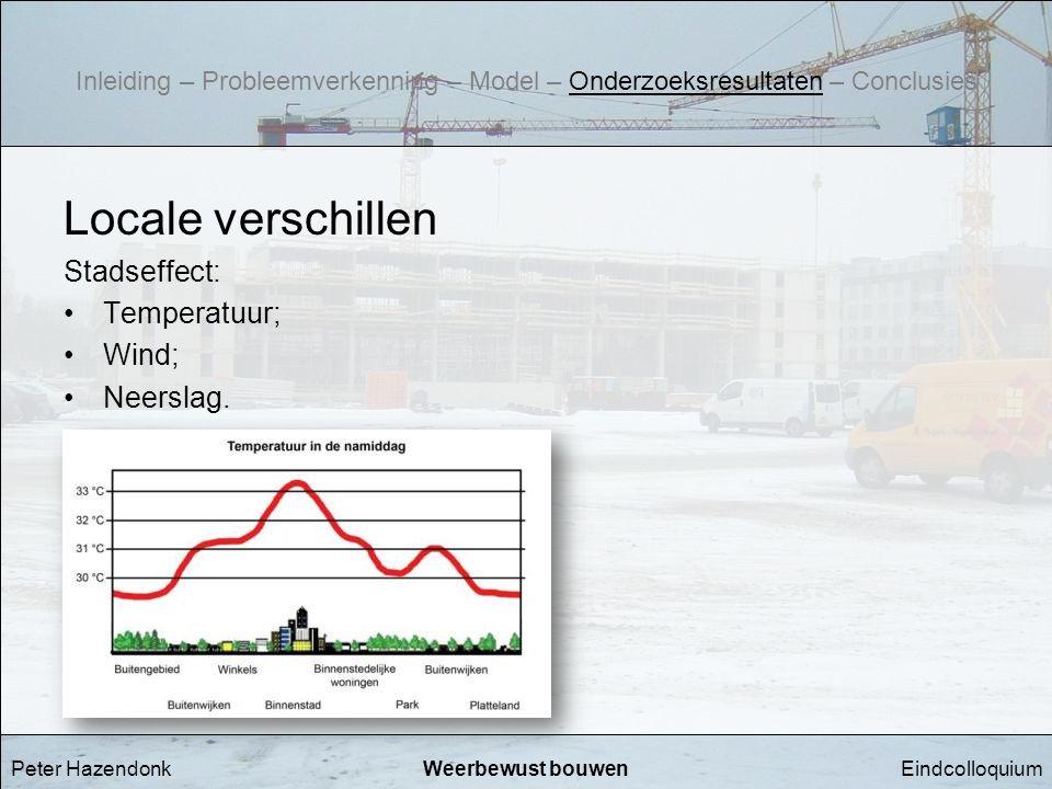 EindcolloquiumWeerbewust bouwen Locale verschillen Stadseffect: •Temperatuur; •Wind; •Neerslag. Peter Hazendonk Inleiding – Probleemverkenning – Model