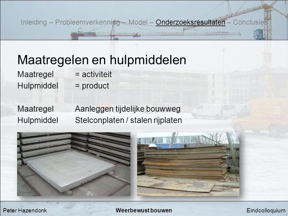 EindcolloquiumWeerbewust bouwen Maatregelen en hulpmiddelen Maatregel = activiteit Hulpmiddel= product MaatregelAanleggen tijdelijke bouwweg Hulpmidde