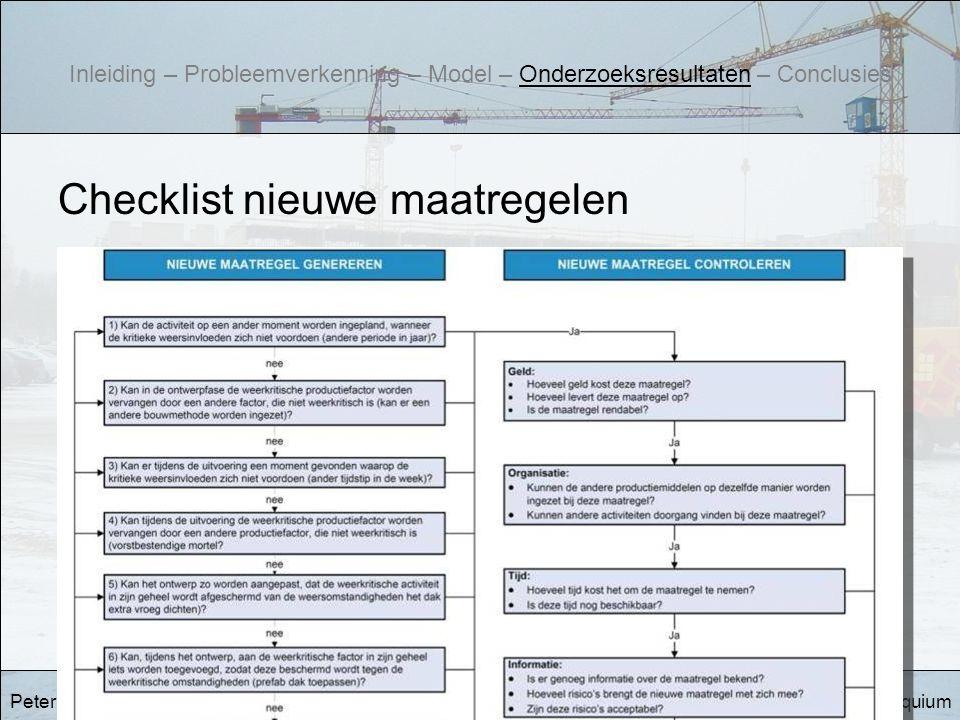 EindcolloquiumWeerbewust bouwen Checklist nieuwe maatregelen Peter Hazendonk Inleiding – Probleemverkenning – Model – Onderzoeksresultaten – Conclusie