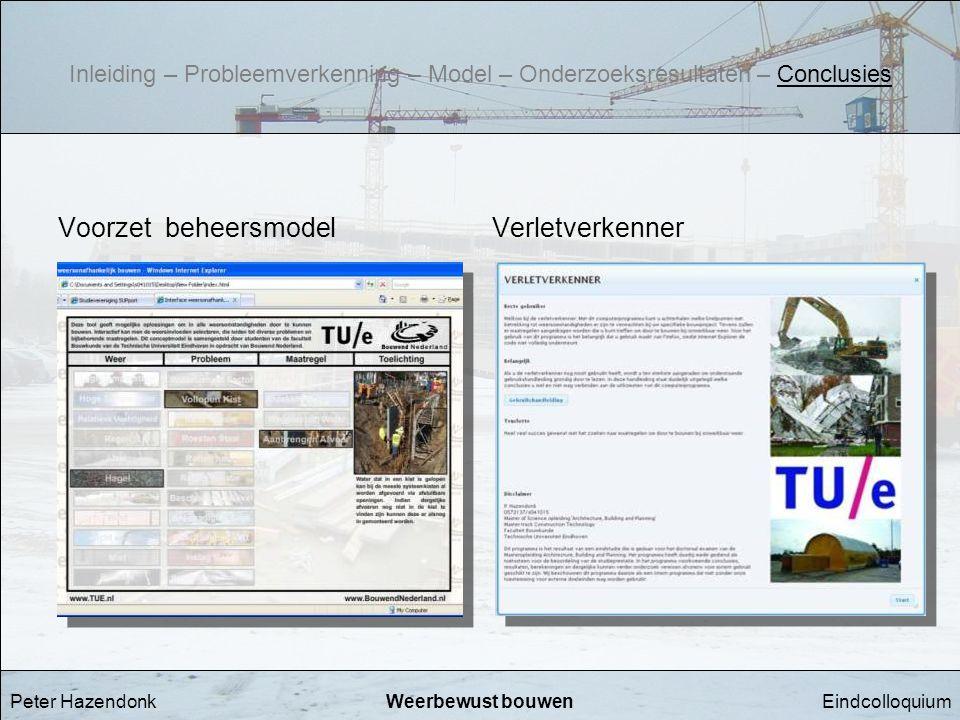 EindcolloquiumWeerbewust bouwen Voorzet beheersmodel Peter Hazendonk Verletverkenner Inleiding – Probleemverkenning – Model – Onderzoeksresultaten – C