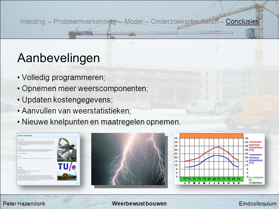 EindcolloquiumWeerbewust bouwen Aanbevelingen • Volledig programmeren; • Opnemen meer weerscomponenten; • Updaten kostengegevens; • Aanvullen van weer