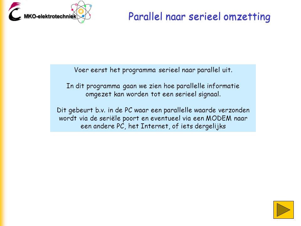 Parallel naar serieel omzetting Om een parallelle informatie om te zetten gebruiken we weer een schuifregister.