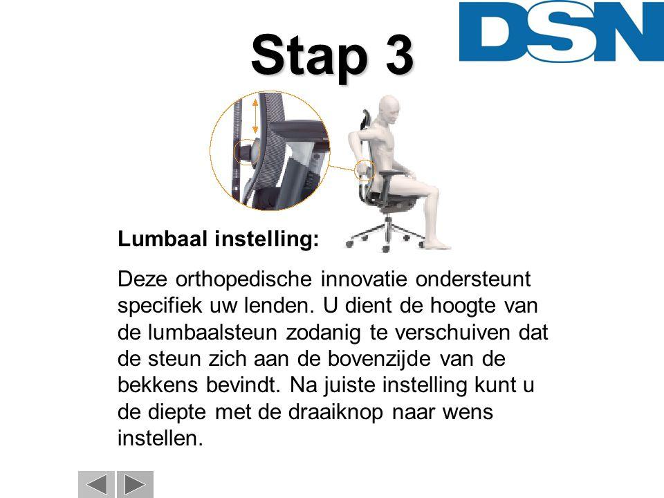 Stap 4 Instellen armleggers: Stel de 3D-armleggers in de hoogte zodanig in, dat uw onderarmen ontspannen liggen en de ellebogen een hoek van ca.