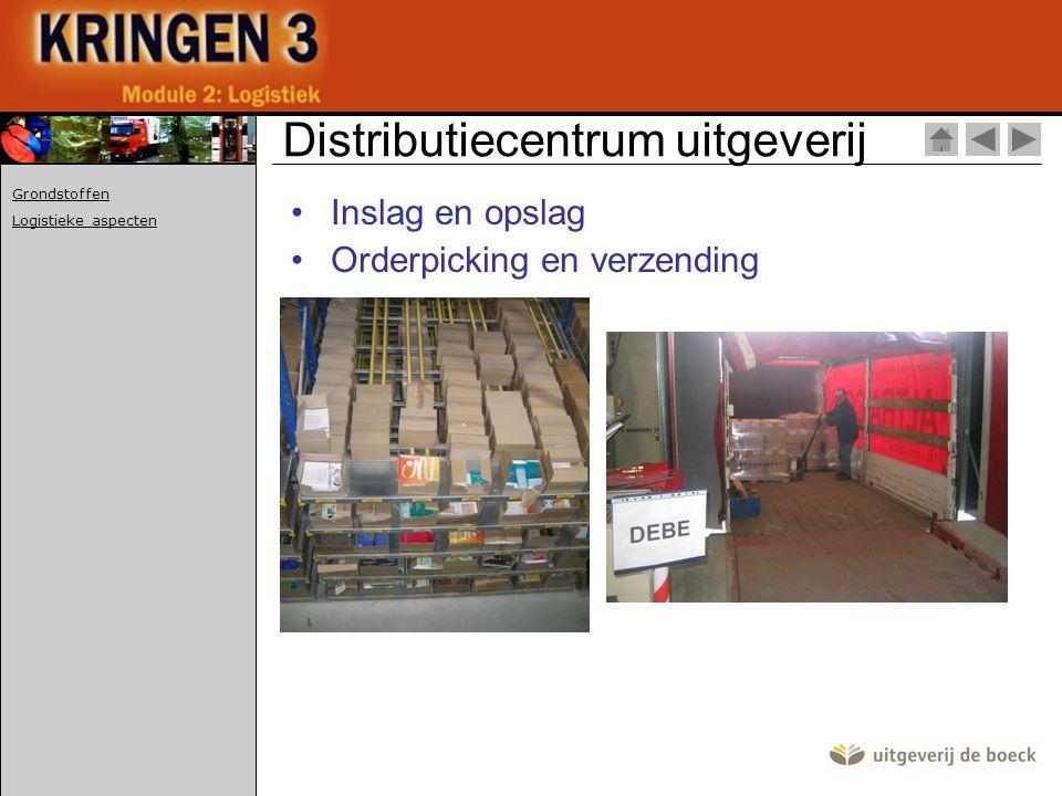 •Inslag en opslag •Orderpicking en verzending Distributiecentrum uitgeverij Grondstoffen Logistieke aspecten