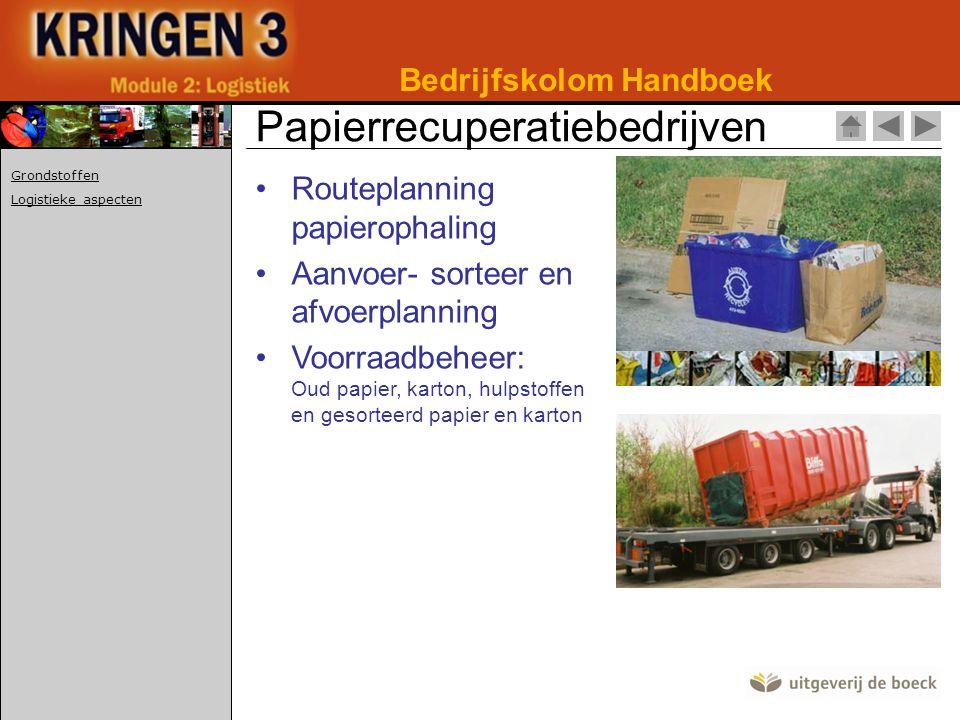 •Routeplanning papierophaling •Aanvoer- sorteer en afvoerplanning •Voorraadbeheer: Oud papier, karton, hulpstoffen en gesorteerd papier en karton Bedrijfskolom Handboek Papierrecuperatiebedrijven Grondstoffen Logistieke aspecten