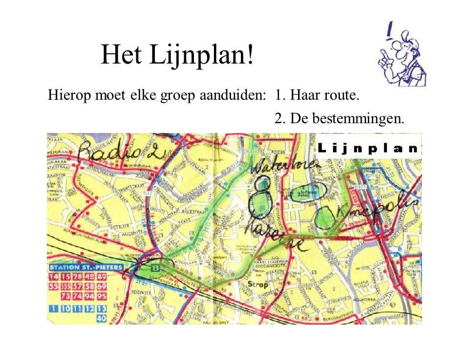 Het Lijnplan! Hierop moet elke groep aanduiden:1. Haar route. 2. De bestemmingen.