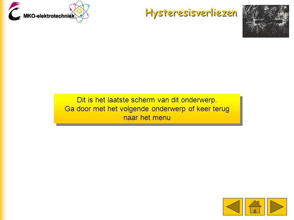 Hysteresisverliezen I + Fout De hysteresisverliezen worden veroorzaakt door het ompolen van de gebieden. Bij een gelijkstroom blijven de gebieden in d