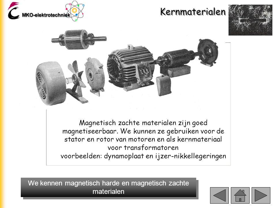Kernmaterialen Magnetisch harde materialen Belangrijk bij magnetisch harde materialen is het grote remanente magnetisme Br (hoeveel magnetisme blijft