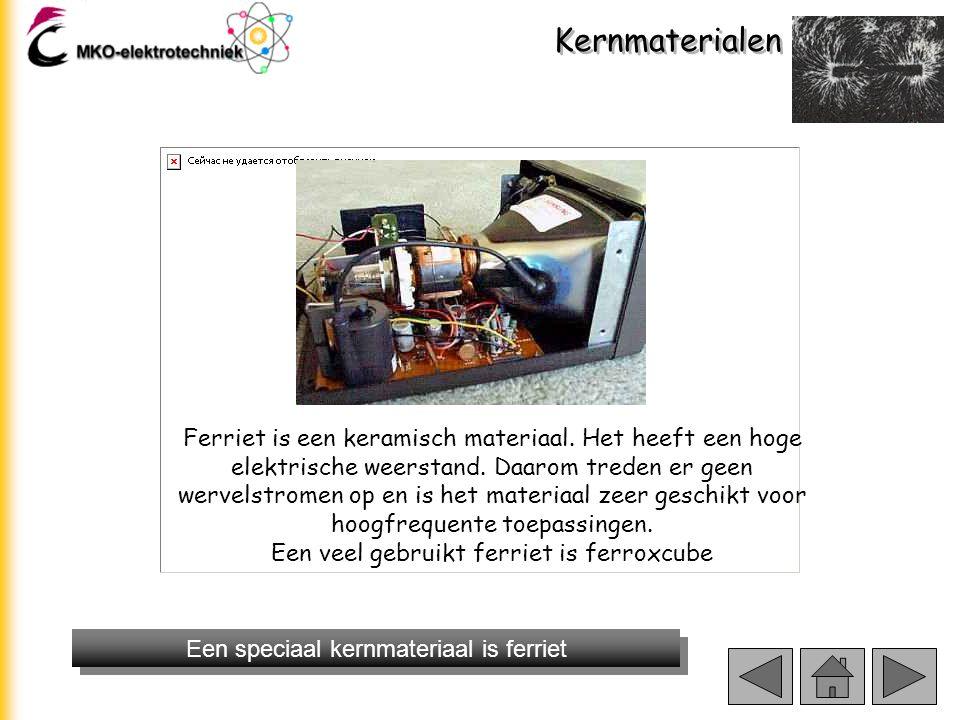 Kernmaterialen Een speciaal kernmateriaal is ferriet Ferrietkern in instelbare spoel Ferriet kraal