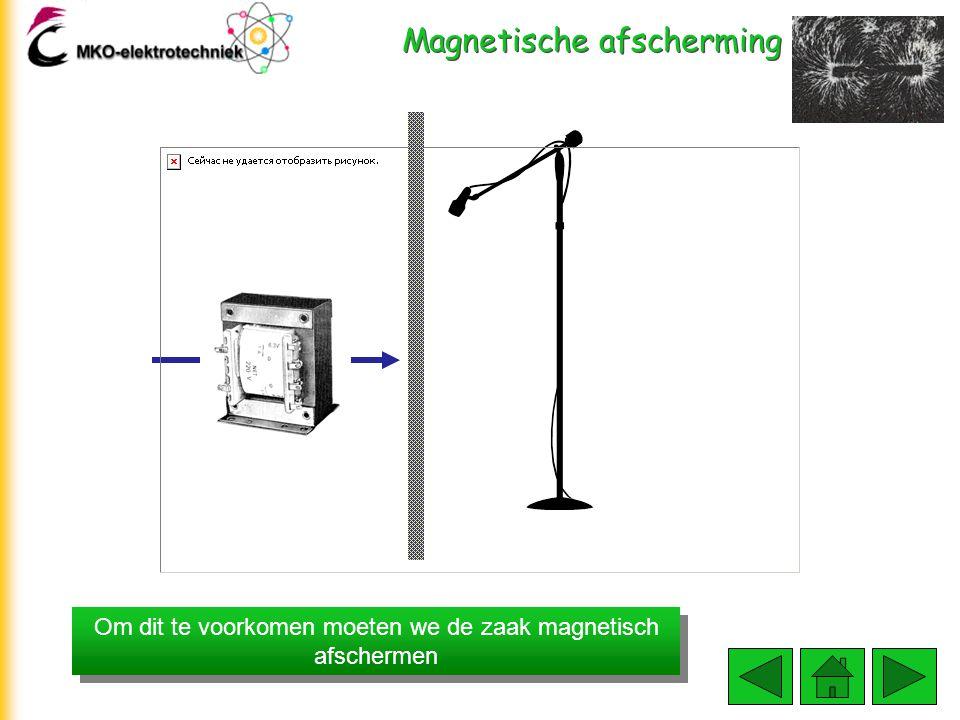 Magnetische afscherming Een voedingstrafo kan bijvoorbeeld een magnetisch strooiveld leveren dat bij een microfoon(snoer) een storingssignaal opwekt.