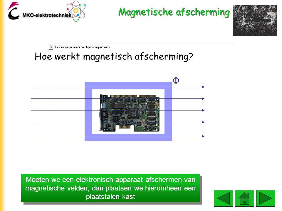 Magnetische afscherming Moeten we een elektronisch apparaat afschermen van magnetische velden, dan plaatsen we hieromheen een plaatstalen kast Hoe wer