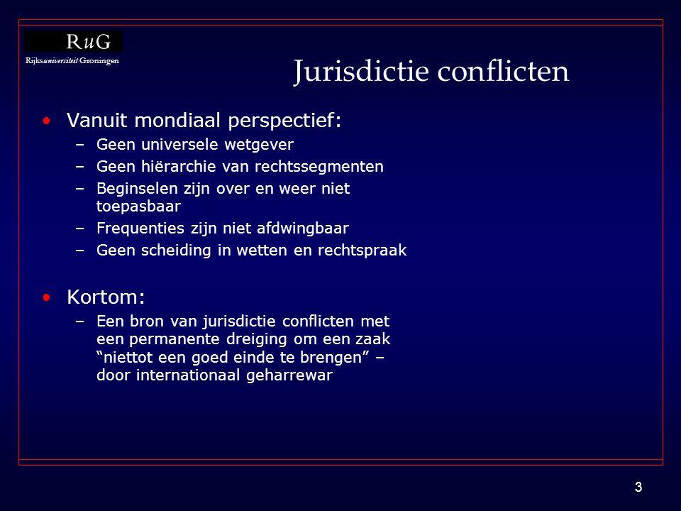 Rijksuniversiteit Groningen 3 Jurisdictie conflicten •Vanuit mondiaal perspectief: –Geen universele wetgever –Geen hiërarchie van rechtssegmenten –Beg