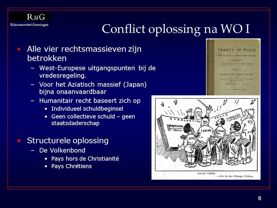 Rijksuniversiteit Groningen 6 Conflict oplossing na WO I •Alle vier rechtsmassieven zijn betrokken –West-Europese uitgangspunten bij de vredesregeling