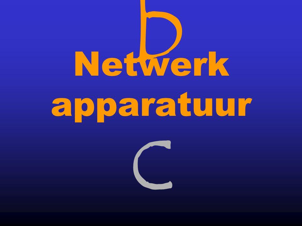 bcbc 13 Hub Server LAN kabel Router Naar ander LAN Het aansluiten op een LAN Sterbekabeling l De meest gangbare LAN configuratie is de ster- bekabeling, gebaseerd op Ethernet.
