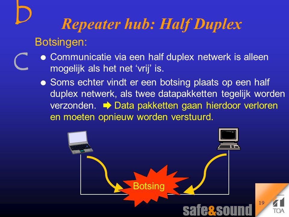 bcbc 18 l Alleen 'Half Duplex' mode l Alle aangesloten apparatuur (agents) moet werken op dezelfde snelheid (10, 100 Mb/s) Ethernet Hub MAC Ethernet Hub MAC    Ethernet Hub - Internal view Ontvangt een signaal, versterkt het en stuurt het naar alle poorten Twisted Pair Ethernet met Hubs Het gebruik van Repeater Hubs l Er kan maar één zender tegelijk actief zijn