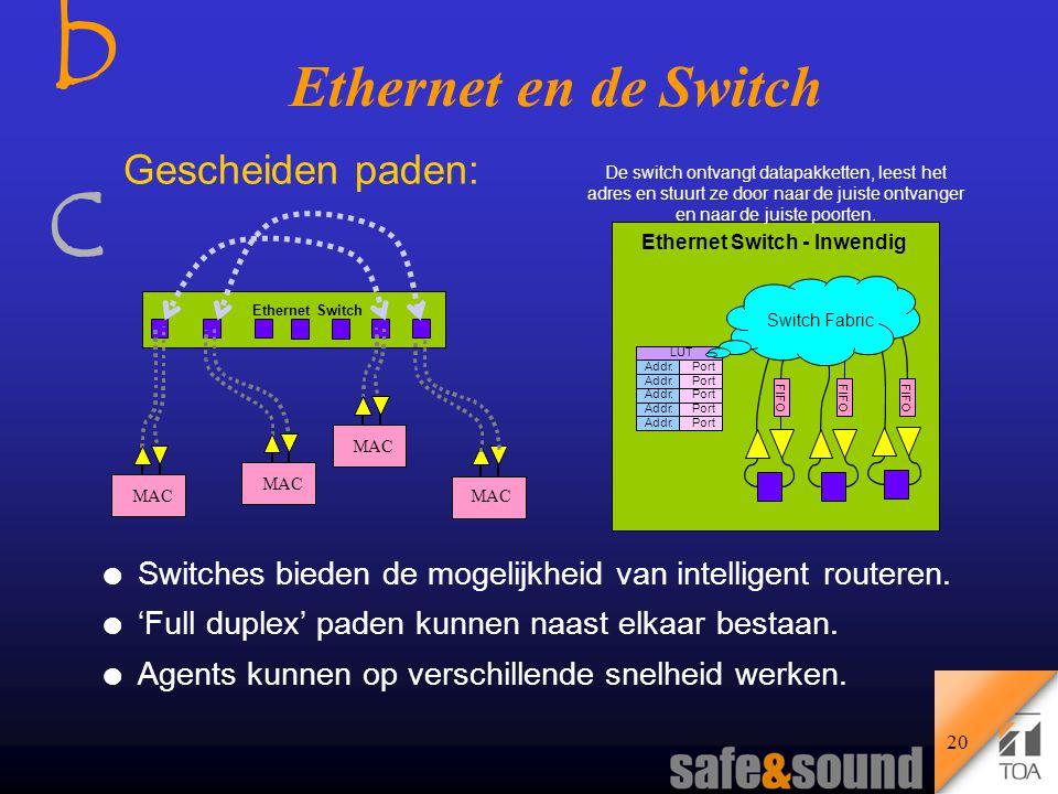 bcbc 19 Botsing Repeater hub: Half Duplex Botsingen: l Communicatie via een half duplex netwerk is alleen mogelijk als het net 'vrij' is.