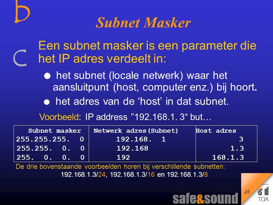 bcbc 25 Samenstelling van het IP Adres Het IP adres bestaat uit 4 Bytes (32 bits), verdeeld in: l Het 'Host' adres l Het 'Subnet' adres Voorbeeld: 192.168.1.