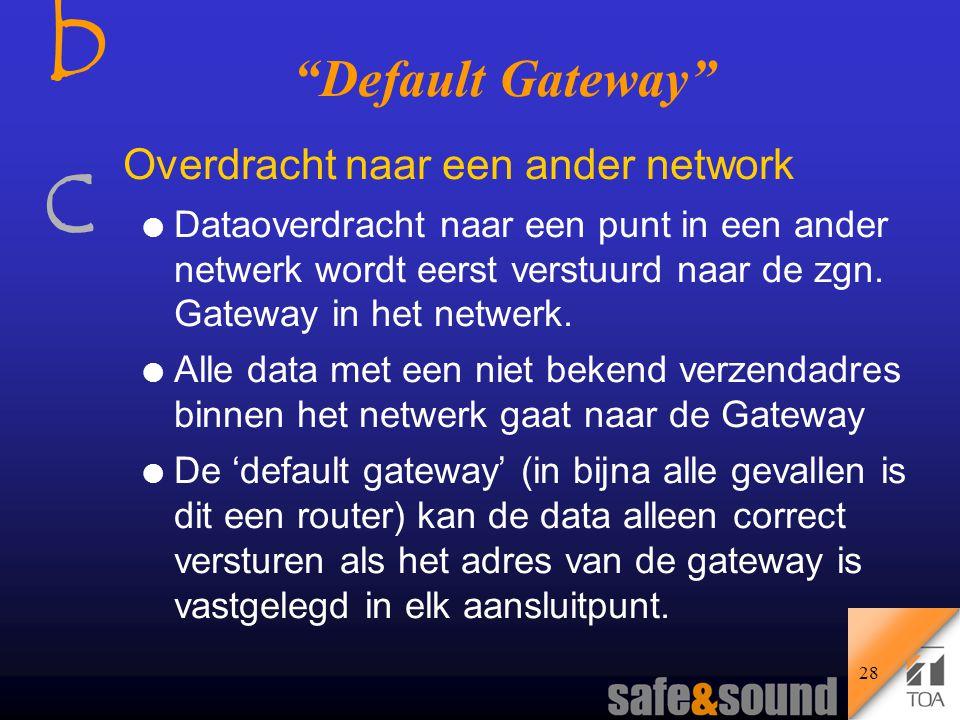 bcbc 27 Router De Router bepaalt de route om data van het ene subnet naar het andere subnet te sturen.