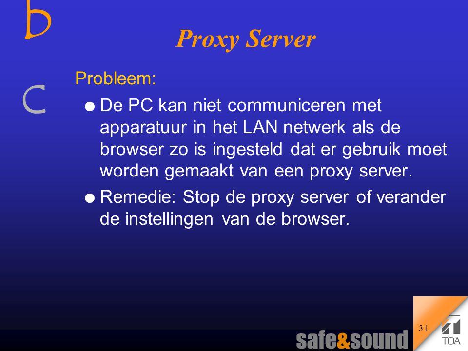 bcbc 30 Gebruiker (zender) WWW server (ontvanger) Proxy server Gebruiker (Zender) Webserver (Ontvanger) De Proxy server (proxy = volmacht) a) Er is geen proxy server aanwezig.