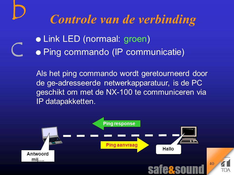 bcbc Controle van de verbinding